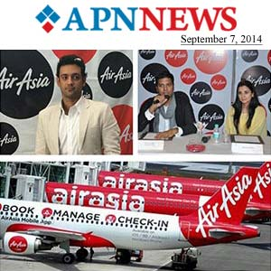 Yamla Pagla Deewana girl Kulraj Randhawa and Olympian Swimmer Rehan Poncha launch Air Asia's inaugural flights to Jaipur and Chandigarh